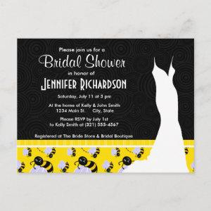 Cute Yellow & Black Bee Invitation Postcard starting at 1.70