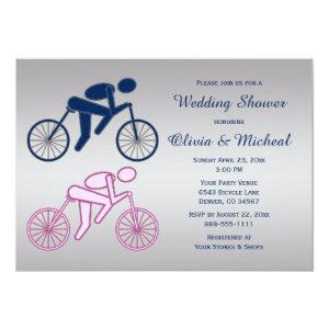 Cyclist Cycling Pink Blue Silver Wedding Shower Invitation starting at 3.08