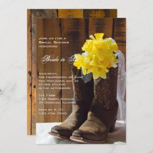 Daffodils and Cowboy Boots Western Bridal Shower Invitation starting at 2.60