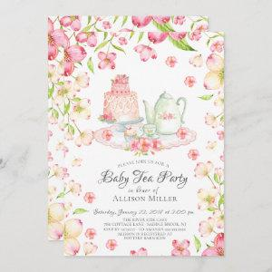 Dainty Pink Floral Baby Tea Party Invitation starting at 2.51