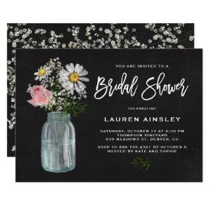 Daisy Mason Jar Rustic Chalkboard Bridal Shower Invitation starting at 2.40