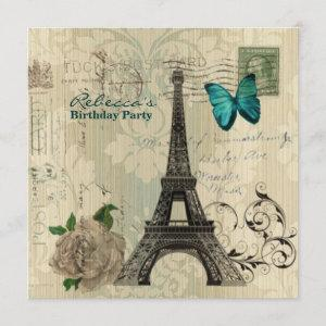 damask french Eiffel Tower Parisian birthday party Invitation starting at 2.67