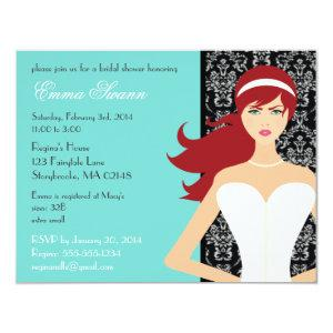 Damask Tiffany Blue Bridal Shower [Redhead Bride] Invitation starting at 2.31