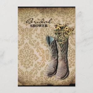Damask wildflower Western country cowboy boots Invitation starting at 2.42