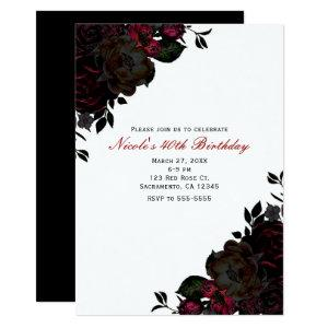 Dark Red & Black Flowers Floral Gothic Invitations starting at 2.71