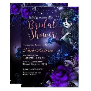 Day of the Dead Girl Purple Blue Bridal Shower Invitation starting at 2.82