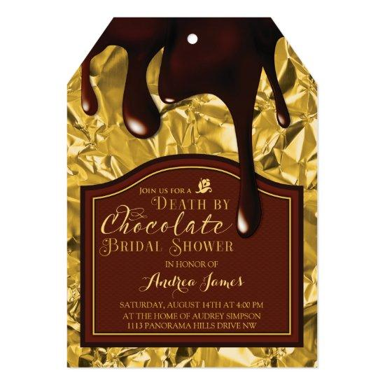 Death by Chocolate Gold Bridal Shower Invitation