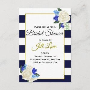 Deep Blue and Gold Floral Bridal Shower Invite starting at 1.95