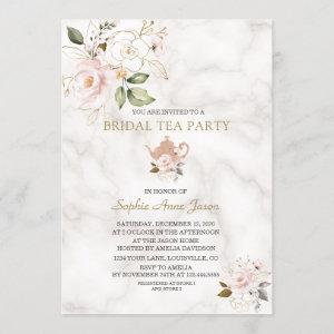 Delicate Blush Gold Floral Bridal Shower Tea Party Invitation starting at 2.55