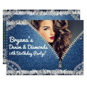 Denim & Diamonds Jean Zipper Party Photo Invitation starting at 2.82