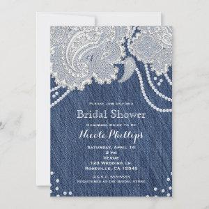 Denim Jean Pearls White Paisley Lace Bridal Shower starting at 2.66