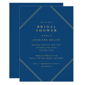 Diamond Double Frame Navy and Gold Bridal Shower Invitation starting at 2.40