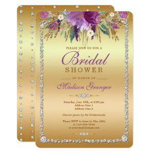Diamond Glitter Watercolor Flowers Bridal Shower Invitation starting at 2.60