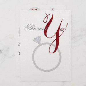 Diamond Ring She Said Yes Silver & Burgundy Party Invitation starting at 3.90
