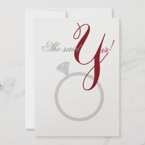 Diamond Ring She Said Yes Silver & Burgundy Party Invitation starting at 4.70