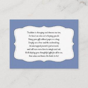 Display bridal shower, insert card, ANY COLOR starting at 0.35