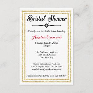 Double Gold Trim - 3x5 Bridal Shower Invitation starting at 1.95
