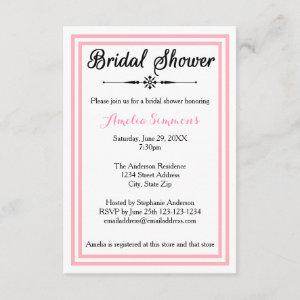 Double Pink Trim - 3x5 Bridal Shower Invitation starting at 1.95