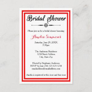Double Red Trim - 3x5 Bridal Shower Invitation starting at 1.95