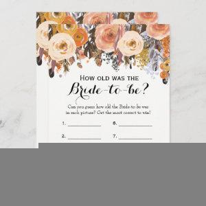 Double Side Autumn Floral Bridal Shower Games Invitation starting at 2.66