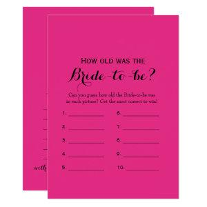 Double Side Hot Pink Bridal Shower Games Invitation starting at 2.66