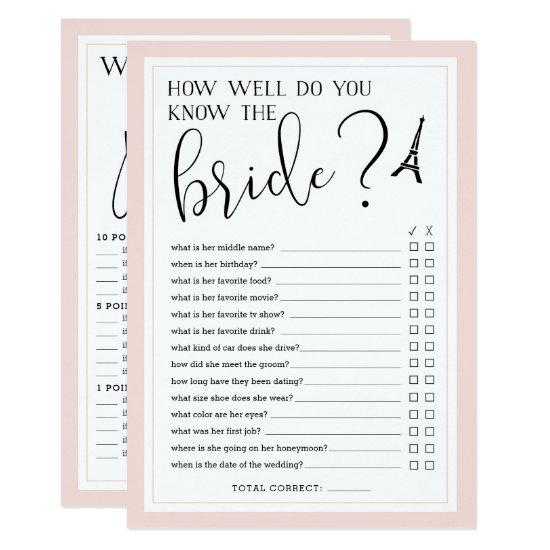 Double-Sided Bridal Shower Game Card