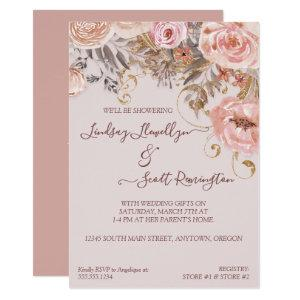 Dried Floral Boho Blush Rose Gold Bridal Shower Invitation starting at 2.55