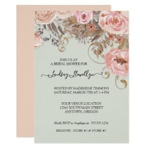Dried Floral Boho Peach Rose Gold Bridal Shower Invitation starting at 2.55