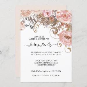 Dried Floral Boho Peach Rose Gold Bridal Shower starting at 2.55