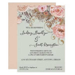 Dried Floral Boho Peach Rose Gold Couples Shower Invitation starting at 2.55