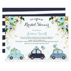 Drive By Bridal Shower Invitation Blue Floral starting at 2.61