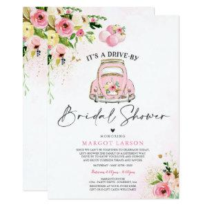Drive By Bridal Shower Invitation Pink Floral starting at 2.31