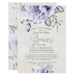 Drive thru Bridal Shower | Rustic Lilac Peony Invitation starting at 2.36