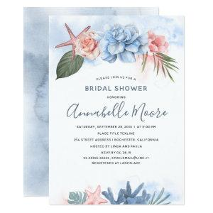 Dusty Blue and Blush Beach Bridal Shower Invitation starting at 2.51
