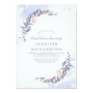 Dusty Blue and Blush Floral Bridal Shower Invitation starting at 2.10