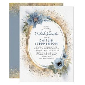 Dusty Blue and Gold Glitter Floral Bridal Shower Invitation starting at 2.20