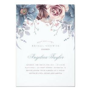 Dusty Blue and Mauve Floral Bridal Shower Invitation starting at 2.15