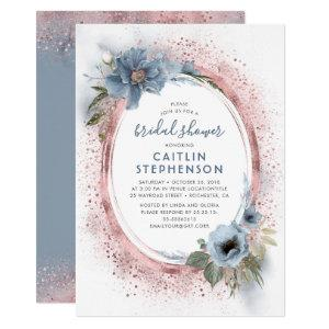Dusty Blue and Rose Gold Glitter Bridal Shower Invitation starting at 2.20