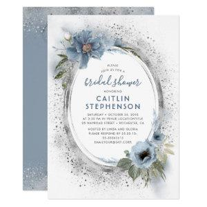 Dusty Blue and Silver Glitter Floral Bridal Shower Invitation starting at 2.20