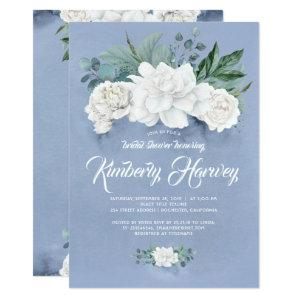 Dusty Blue and White Flowers Bridal Shower Invitation starting at 2.26