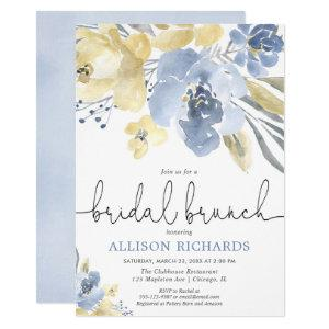Dusty blue and yellow floral bridal brunch shower invitation starting at 2.55