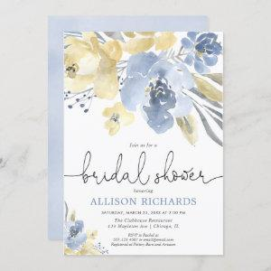 Dusty blue and yellow floral bridal shower invitation starting at 2.55