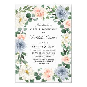 Dusty Blue Blush Pink Peach Floral Bridal Shower Invitation starting at 2.25