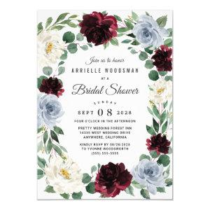 Dusty Blue Burgundy Cranberry Fall Bridal Shower Invitation starting at 2.25