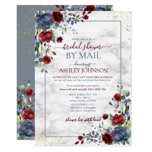 Dusty Blue Burgundy Floral Bridal Shower by Mail Invitation starting at 2.15