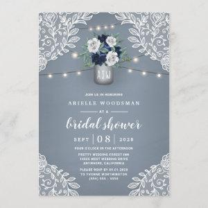 Dusty Blue Country Lace Mason Jar Bridal Shower Invitation starting at 2.25