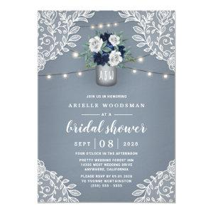 Dusty Blue Country Lace Mason Jar Bridal Shower Invitation starting at 2.00