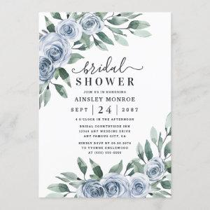 Dusty Blue Elegant Floral Boho Rose Bridal Shower Invitation starting at 2.25