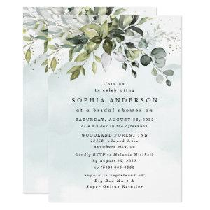 Dusty Blue Eucalyptus Greenery Boho Bridal Shower Invitation starting at 2.00