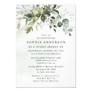 Dusty Blue Eucalyptus Greenery Boho Bridal Shower Invitation starting at 2.25